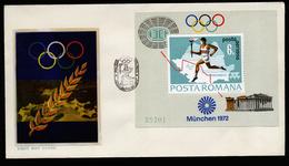 A4618) Romania Rumänien FDC Olympia München 1972 Mi. Block 93 - Sommer 1972: München