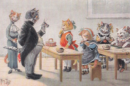 "Illustration D'Arthur Thiele - ""Der Herr Direktor In Der Strickstunde"" - T.S.N. Série 1423 (6. Muster.) - Thiele, Arthur"