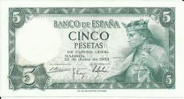 BILLETE 5 PESETAS  22/07/1954  ( SIN CIRCULAR) - [ 3] 1936-1975 : Régence De Franco