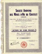 """CHERCHEURS D OR EN Creuse RARE ACTION  """"SOCIETE DES MINES D OR DU CHATELET"""" (Creuse) VOIR SCANS+HISTORIQUE - Mines"""
