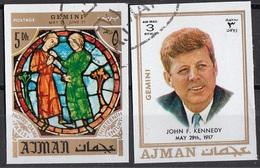 771 Ajman 1971 John F. Kennedy- Zodiaco Gemini Gemelli - Stainled Glass Window Vetrata Notre Dame - Astrologia