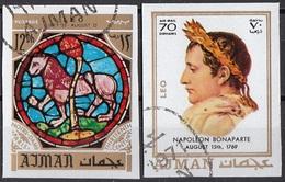 773 Ajman 1971 Napoleone Bonaparte - Zodiaco Leone Leo - Stainled Glass Window Vetrata Notre Dame - Astrologia
