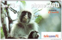 LIECHTENSTEIN PREPAID SINGE MONKEY 20FCH UT VALID 12.2004 - Jungle