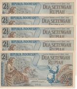 INDONESIA 2 1/2 RUPIAH 1961 P-79a UNC 5 PCS  [ID406b] - Indonesia