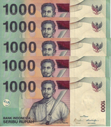 INDONESIA 1000 RUPIAH 2009 (2000) P-141j UNC 5 PCS  [ID597j] - Indonesia