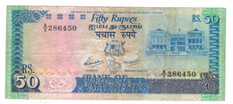 Mauritius, 50 Rupees,  F/VF,  See Scan. Free Ship. To USA. - Maurice