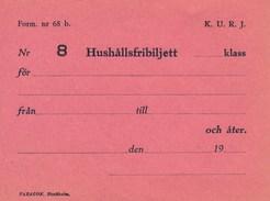 Schweden Eisenbahn 19XX Haushalts-Freibillett Fahrkarte Unbenutzt - Eisenbahnverkehr