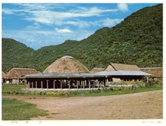 (720) American Samoa Village (with Stamp) - Samoa Américaine