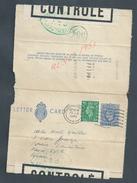 MILITARIA ENTIER POSTAL GEORGE VI OB PADDINTON 1945 CENSURE ? CONTROLÉ ECRITE DE LONDON GRANDE BRETAGNE : - 1902-1951 (Rois)