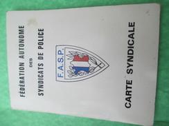 Carte Syndicale/Fédération Autonome Des Syndicats De Police/Poissy/Avec Timbres Annuels De Cotisation/1971-1980    AEC50 - Police