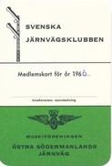 Schweden Eisenbahn 1966 Schwedischer Eisenbahn-Klub Mitgliederkarte Eisenbahnsignal - Eisenbahnverkehr