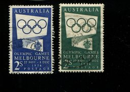 443117354 AUSTRALIA DB 1954 GEBRUIKT USED OBLITERE GEBRAUCHT YVERT 215 216 - 1952-65 Elizabeth II : Ed. Pré-décimales
