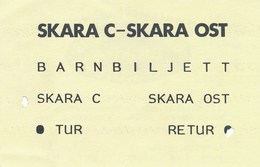 Schweden Eisenbahn Kinderfahrkarte Barnbiljett Skara C - Skara Ost - Eisenbahnverkehr