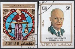 775 Ajman 1971 Dwight Eisenhower - Zodiaco Bilancia Libra - Stainled Glass Window Vetrata Notre Dame - Astrologia