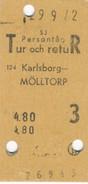 Schweden Eisenbahn Fahrkarte Karlsborg - Mölltorp - Eisenbahnverkehr