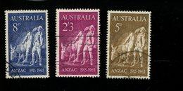 443119719 AUSTRALIA DB 1965 GEBRUIKT USED OBLITERE GEBRAUCHT YVERT 308 309 310 - 1952-65 Elizabeth II : Ed. Pré-décimales