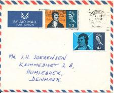 Great Britain Air Mail Cover Sent To Denmark Shrewsbury 6-3-1966 Complete Set Robert Burns - Centrafricaine (République)