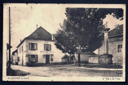 CPA ANCIENNE- FRANCE- ST-ANDRÉ-LE-GAZ (38)- L'HOTEL DE VILLE  EN ÉTÉ- LE MONUMENT- - Saint-André-le-Gaz