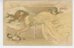 FEMMES - FRAU - LADY - CAT - Jolie Carte Fantaisie Femme Allongée Et Chats ( Style KIRCHNER ) - Cats