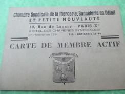Carte De Membre Actif/Chambre Syndicale De La Mercerie, Bonneterie En Détail/Paris/ HIET/ /1945    AEC58 - Vintage Clothes & Linen