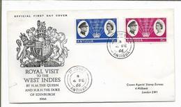 Antigua, 1966 Royal Visit, First Day Cover - Antigua And Barbuda (1981-...)