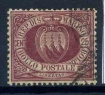 #17-03-06441 - San Marino - 1877 - Sass. 5 - US - QUALITY:100% - Cifra Stemma 25 C. - San Marino