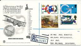 Great Britain Registered Cover Sent To Denmark Hornchurch D. 1970 - Briefe U. Dokumente
