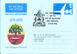 Great Britain AerogrammeThe Corporation Of The City Of Glasgow Bids Farewell 15-5-1975 Sent To Aberdeen - Stamped Stationery, Airletters & Aerogrammes