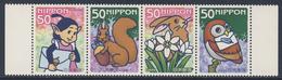Japan Japon Nippon 2005 Mi 3867 /70 A Strip ** Letter Writing Day 2005 - Cartoons / Tag Des Briefschreibens - 1989-... Emperor Akihito (Heisei Era)