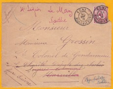1908 - Devant De Lettre De Koné, Nouvelle Calédonie, Colonie Française Vers Marseille Puis Le Mans- Timbre Entier - Briefe U. Dokumente