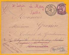 1911 - Devant De Lettre De Koné, Nouvelle Calédonie, Colonie Française Vers Marseille Puis Le Mans - Timbre Seul 10 C - Neukaledonien