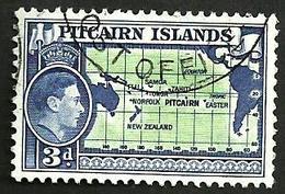 PITCAIRN  ISLANDS BLUE 3 PENCE KGVI HEAD MAP 1940 USEDLH SG5 READ DESCRIPTION CAREFULLY !! - Pitcairninsel