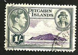 PITCAIRN  ISLANDS GRAY 1/- KGVI HEAD ISLAND 1940 USEDLH SG7 READ DESCRIPTION CAREFULLY !! - Pitcairninsel