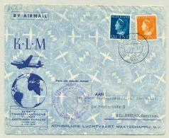 Nederland - 1946 - 12,5 En 50 Cent Konijnenburg Op KLM LP-cover Van 's Gravenhage Naar Willemstad, Special Flight - Briefe U. Dokumente