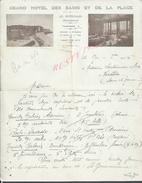 LETTRE COMMERCIALE ILLUSTRÉE DE 1936 GRAND HOTEL DES BAINS & DE LA PLAGE À LES PETITES DALLES : - France
