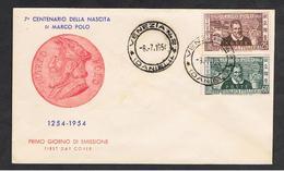 REPUBBLICA:  1954  MARCO  POLO  -  BUSTA  F.D.C.  ANNULLO  VENEZIA  DANIELI  -  SASS. 741/42 - 6. 1946-.. Repubblica