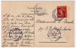 !!! 10C SEMEUSE SUR CPA D´ARGENTINE CACHET MARITIME BUENOS AIRES A BORDEAUX - Marcophilie (Lettres)