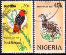 NIGERIA 1984 SG #486-87 Part Set 2 Top Stamps Of 4 Used Rare Birds - Nigeria (1961-...)