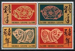 Sierra Leone, 1995, China, Chinese Year Of The Pig, MNH Block, Michel 2271-2274 - Sierra Leone (1961-...)
