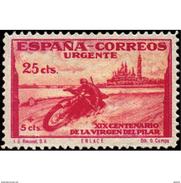 ES903STV-LTV***903STEUR.Spain.Esgane .RELIGION.VENIDA DE LA VIRGEN DE EL PILAR De ZARAGOZA.URGENTE.moto.1940.(Ed 903**) - Espresso