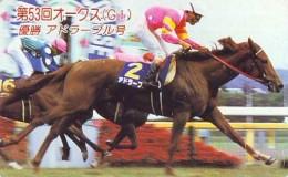 Télécarte Japon * Animal * CHEVAL DE COURSE (148) H0RSE RACING * DERBY * HORSE Japan Phonecard * PFERD * PAARD - Paarden
