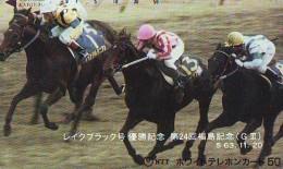 Télécarte Japon * Animal * CHEVAL DE COURSE (154) H0RSE RACING * DERBY * HORSE Japan Phonecard * PFERD * PAARD - Horses