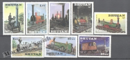 Bhutan - Bhoutan 1984 Yvert 625-32, Locomotives - MNH - Bhoutan