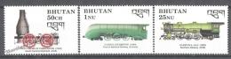 Bhutan - Bhoutan 1989 Yvert 878-880, The Steam Era, Locomotives - MNH - Bhután