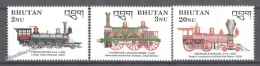 Bhutan - Bhoutan 1989 Yvert 884-86, The Steam Era, Locomotives - MNH - Bhoutan