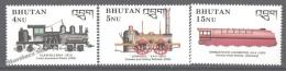 Bhutan - Bhoutan 1990 Yvert 905-07, The Steam Era, Locomotives - MNH - Bhoutan