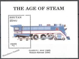 Bhutan - Bhoutan 1989 Yvert BF 198, The Steam Era, Locomotive - MNH - Bhutan