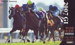 Télécarte Japon * Animal * CHEVAL DE COURSE (161) H0RSE RACING * DERBY * HORSE Japan Phonecard * PFERD * PAARD - Horses