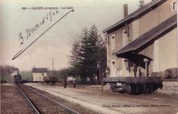 CPA De GAGES (Aveyron) - La Gare. Colorisée, Vernie. Edition Désiré Malzac. N° 269. Circulée Le 3 Mars 1916. Bon état. - Francia