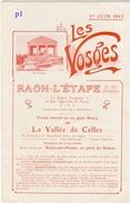 VOSGES - DÉPLIANT TOURISTIQUE - CHEMINS DE FER DE LA VALLÉE DE CELLES - CHEMINS DE FER DE L'EST - 1914 - TOP - RARE - Dépliants Touristiques